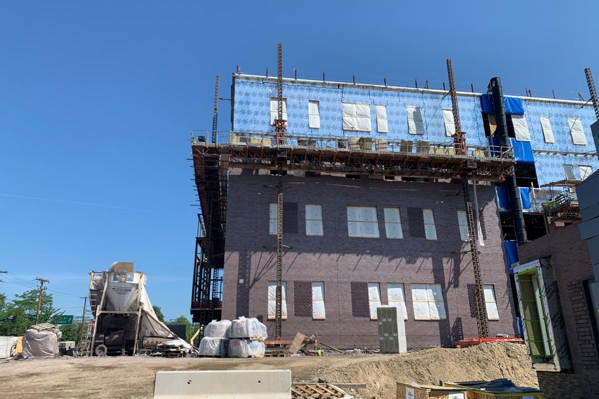 The brick exterior is now visible on the new Middle-High School