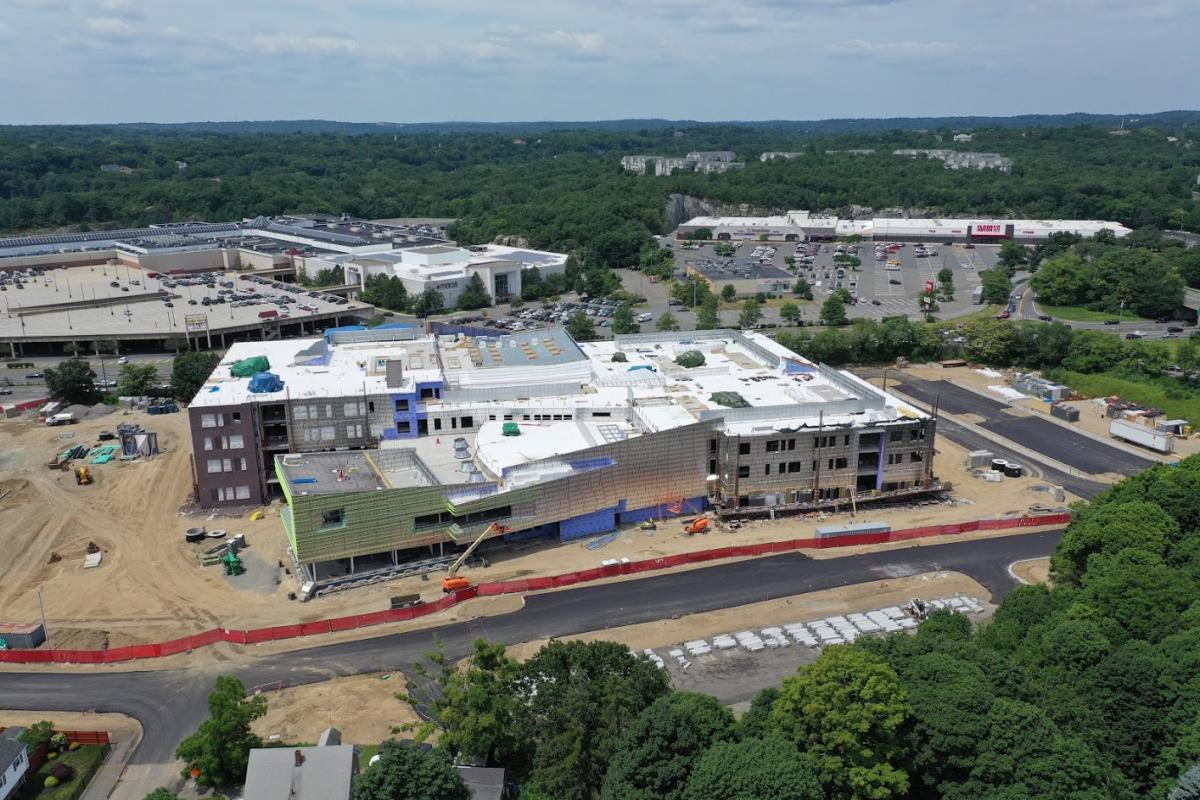 An aerial image showing the construction progress on the new Middle-High School