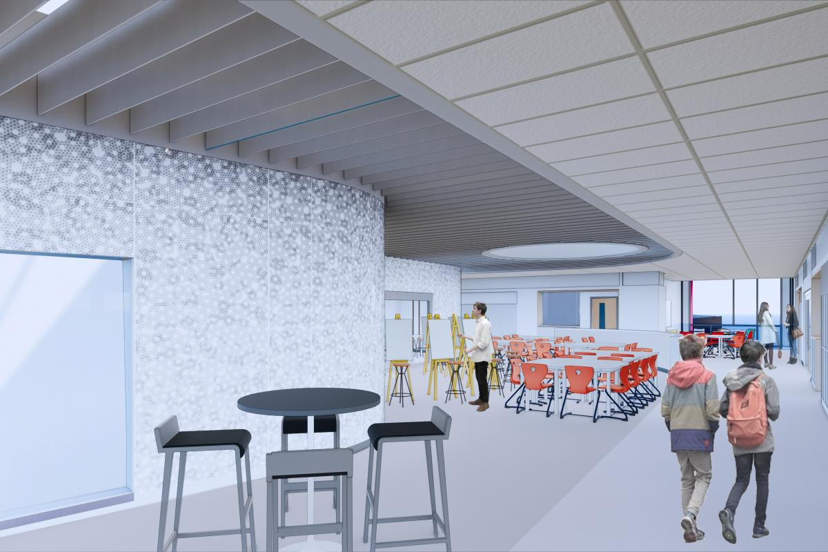 A rendering of a project area in the future Saugus Middle-High School