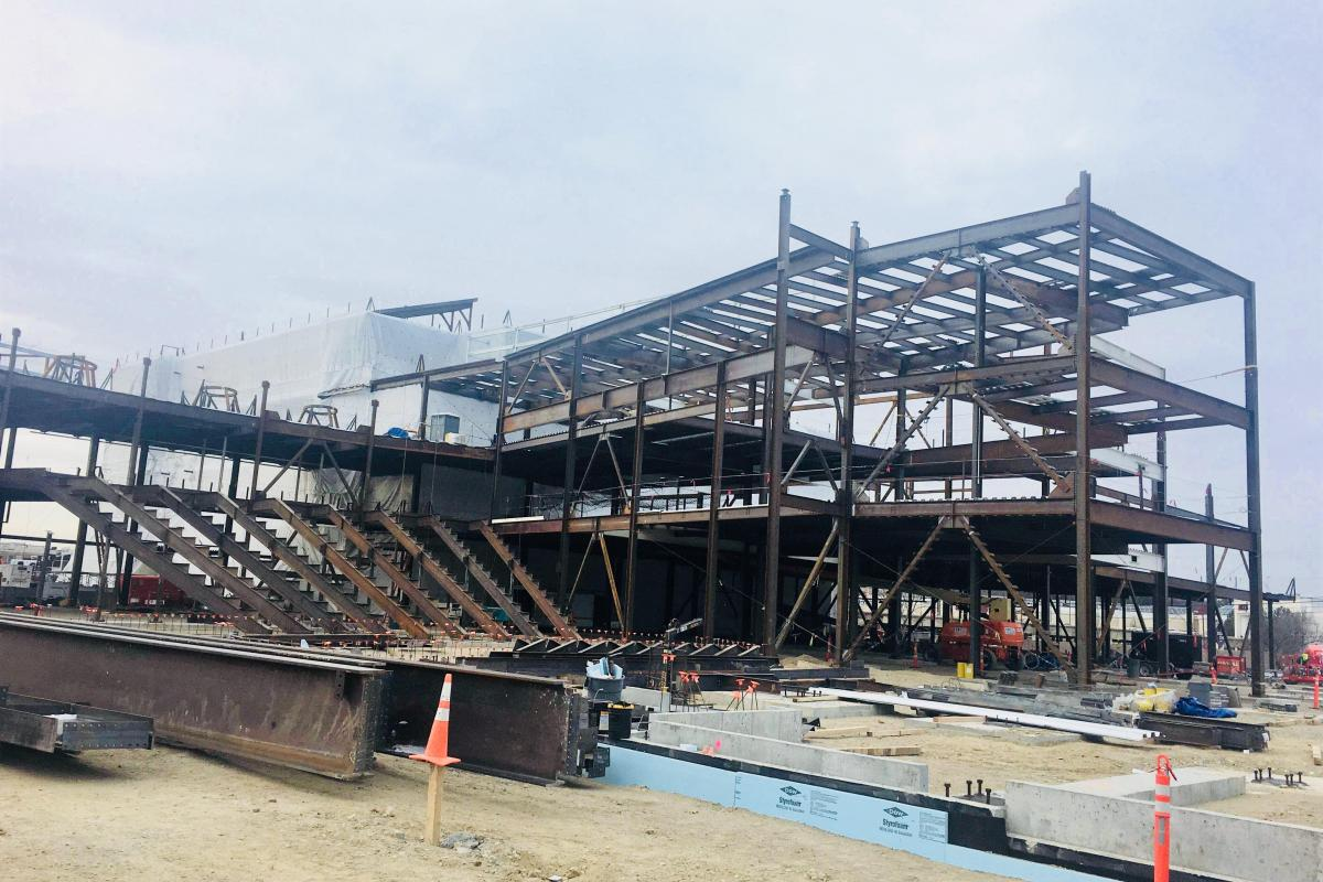 The auditorium is beginning to take shape at the new Saugus Middle-High School.