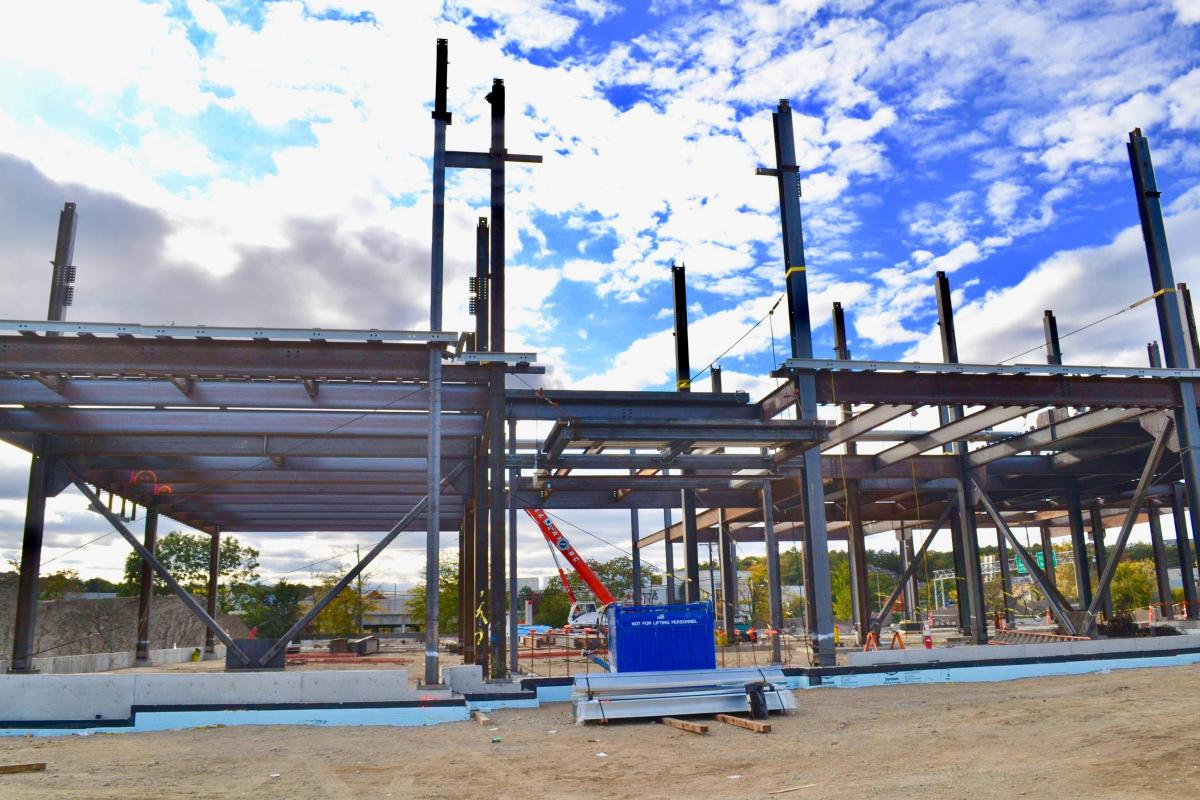 Steel columns are quickly being erected during early construction of the new Middle-High School