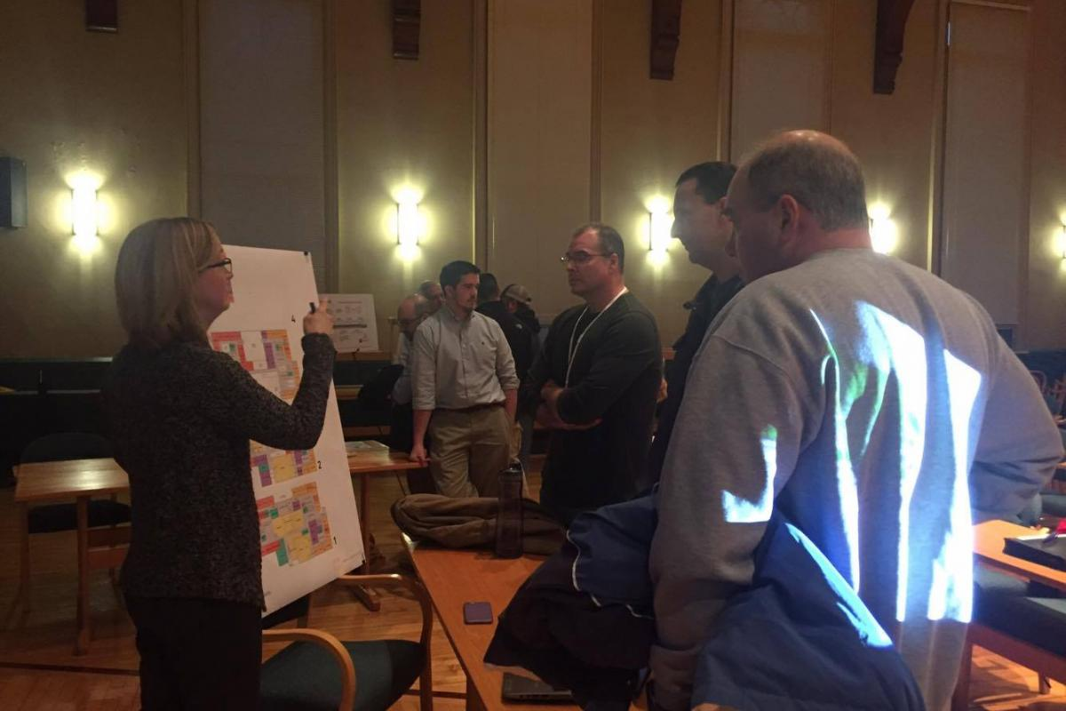 Members of the public learn about the Saugus School Project during the first Public Outreach Meeting on January 30, 2017.